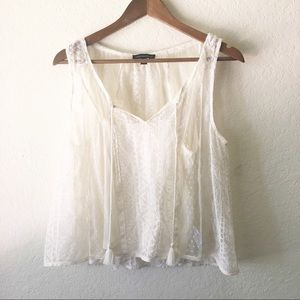 AEO Lace Layered Tank Blouse Tassels Cream M Dots